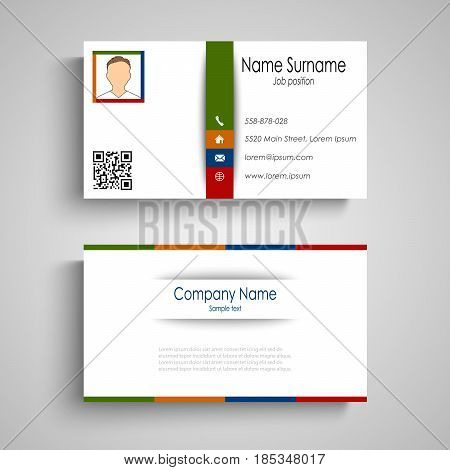 Business card with colorful slat template vector eps 10