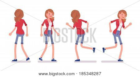 Set of female millennial, smart casual dressing, jeans shorts, red shirt, walking and running, happy and smiling, front, rear view, vector flat style cartoon illustration, isolated, white background