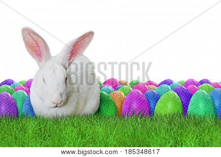 Full Happy Easter on white background