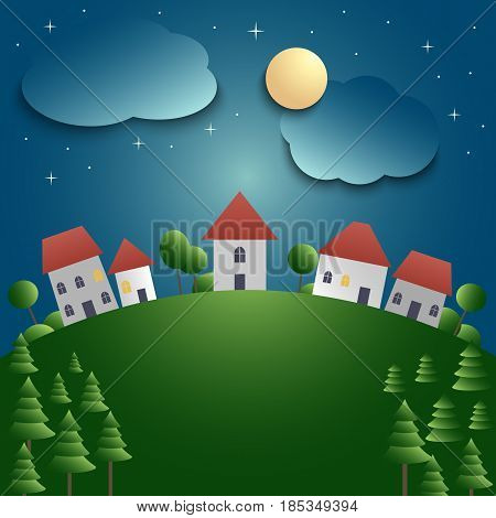 Night landscape with village and meadow background vector eps 10