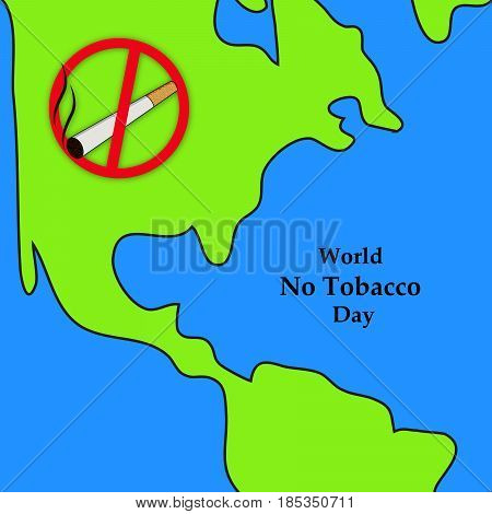 illustration of Cigarette on map background with world no tobacco day text