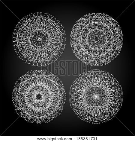 Set Of White Guilloche, Decorative Elements, Black And White