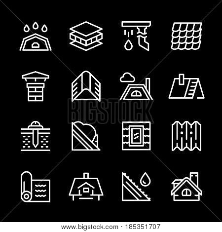 Set line icons of roof isolated on black. Vector illustration