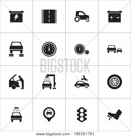 Set Of 16 Editable Vehicle Icons. Includes Symbols Such As Automotive Fix, Highway, Battery And More. Can Be Used For Web, Mobile, UI And Infographic Design.