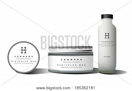 Realistic bottle cosmetic vial, flask, shampoo, container for cream, powder. Mock up set. Label sticker