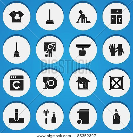 Set Of 16 Editable Dry-Cleaning Icons. Includes Symbols Such As Plate, Servant, Dustbin And More. Can Be Used For Web, Mobile, UI And Infographic Design.