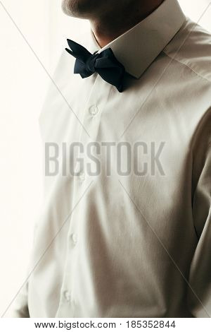 Stylish Groom In Shirt And Bow Tie, Getting Ready In Morning For Wedding Ceremony