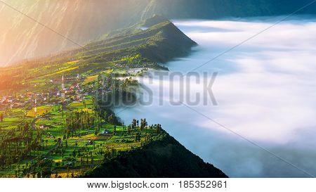 Cemoro Lawang Village At Mount In Bromo Tengger Semeru National Park, East Java, Indonesia
