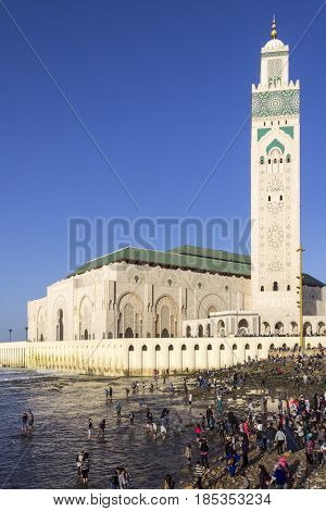 View on seafront of Grande Mosque Hassan II in Casablanca Morocco