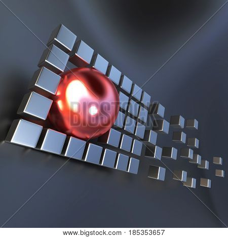 3D rendering with metallic cubic shapes and a round form over a grey background