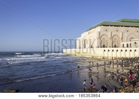 View on seafront of Grande Mosque Hassan II in Casablanca Morocco.