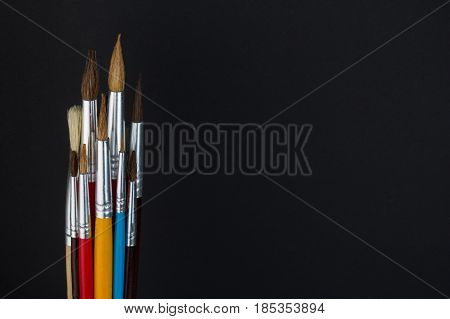 colorful paint brushes, school supplies,special artistic equipment
