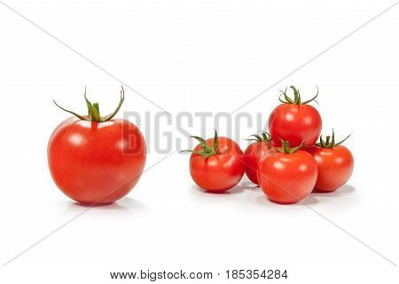 Tomatoes branch isolated on white background with clipping path