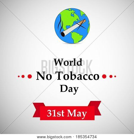 illustration of elements of Cigarette, earth with world no tobacco day text