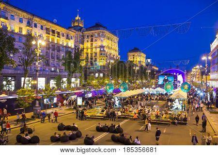 KYIV, UKRAINE - MAY 5, 2017: Eurovision village fun zone on Khreschatyk street in the evening