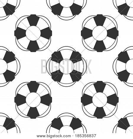 Lifebuoy icon seamless pattern on white background. Lifebelt symbol. Vector Illustration