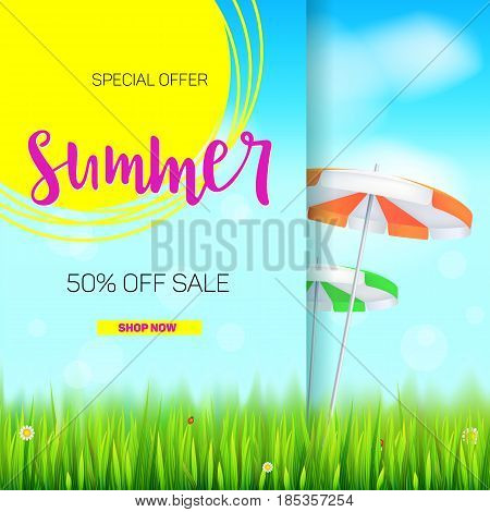 Summer sale banner. Stylish advertisement text poster on blue summer sky backdrop with clouds, sun umbrellas, grass, daisies and ladybugs. Template mock-up for online shopping, advertising actions.