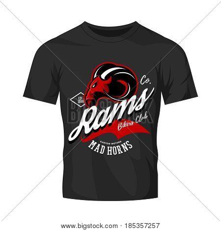 Vintage American furious ram bikers club tee print vector design isolated on black t-shirt mockup. Street wear t-shirt emblem.  Premium quality wild animal superior mascot logo concept illustration.