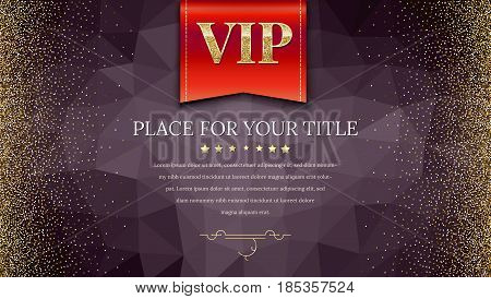 VIP or luxury red flag on dark polygonal background make from triangles with golden, shiny, glitter dust. Horizontal picture frame. Template for advertisement, VIP or luxury card, selling banner.