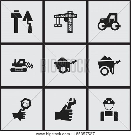 Set Of 9 Editable Construction Icons. Includes Symbols Such As Mule, Hands , Caterpillar. Can Be Used For Web, Mobile, UI And Infographic Design.