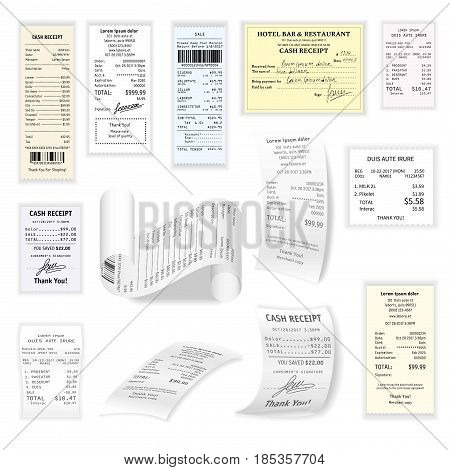 Commercial cheques vector collection on white. Colorful register sales receipts printed on thermal rolled paper realistic pictures set. Documents confirming about paying for services or things