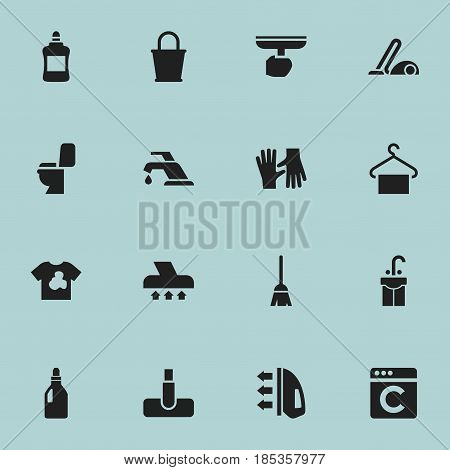 Set Of 16 Editable Hygiene Icons. Includes Symbols Such As Steam, Vacuum Cleaner, Hanger And More. Can Be Used For Web, Mobile, UI And Infographic Design.