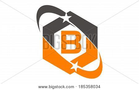 This image describe about Star Swoosh Letter B