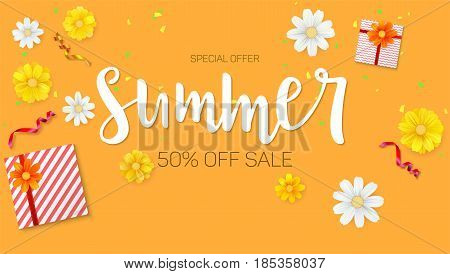 Summer sale ad, selling banner. Top view. Gift box with red ribbon and bow, burning, lighted candle, with serpentine and confetti on hot orange background. Template for online shopping.