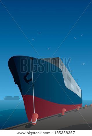 Illustration of cargo ship on a dock.
