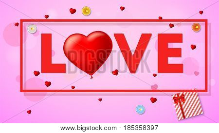 Love card with typography a large red heart in the form of an inflatable, scarlet balloon. Top view on composition with gift box, candles, tinsel and confetti. Template for greeting card or invitation