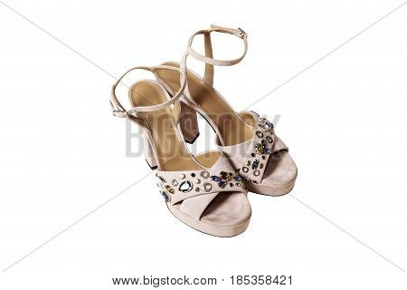 Suede Beige Female Shoes