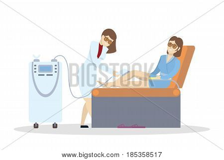 Laser hair removal. Isolated illustration on white background.