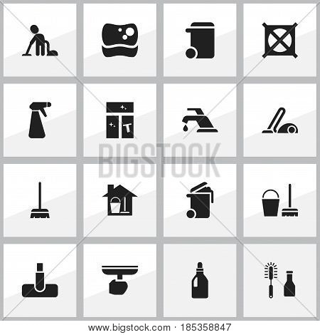 Set Of 16 Editable Cleanup Icons. Includes Symbols Such As Brush, Vacuum Cleaner, Laundry Detergent And More. Can Be Used For Web, Mobile, UI And Infographic Design.