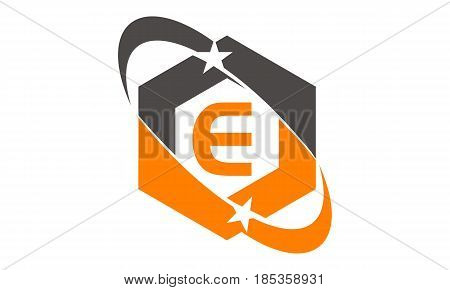 This image describe about Star Swoosh Letter E