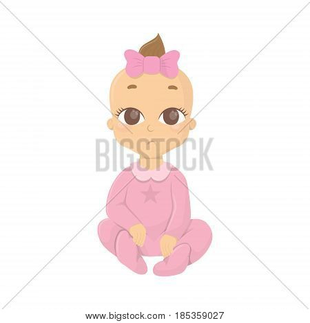 Baby girl in pink outfit. Isolated funny baby with bow.