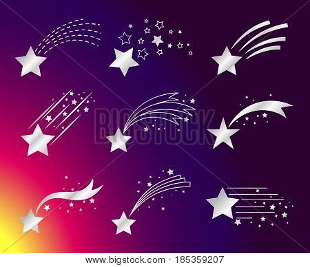 White stars with tails or falling comets on colorful background. Vector illustration
