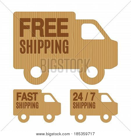 Set of free shipping and free delivery cardboard car labels