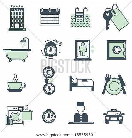 Hotel amenities and services icons collection on white. Symbols in green showing facilities in special building for tourists. Accommodations, taxi delivery, laundry, bed and breakfast, food and drink
