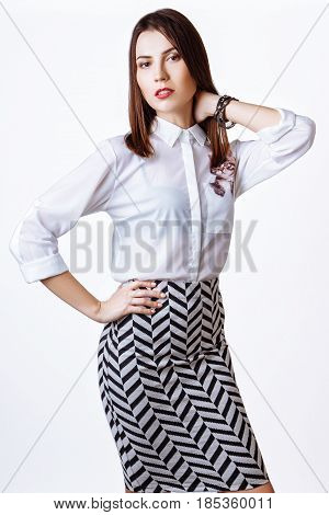 Beautiful Woman Glamor Model Business Office Fashion Clothes Wear Casual Style.