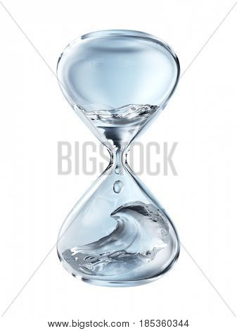 Hourglass with dripping water close-up. Isolated on white background. 3d rendering