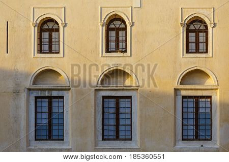 Architectural detail of the old mosque in Monastiraki square in the old town of Athens, Greece.