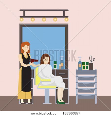 Isolated hairdressing salon illustration. Stylist with hairdryer in the cabinet.