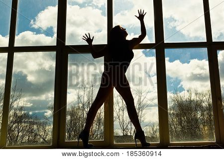 Silhouette Of Girl On High Hilts In Front Of Window.