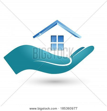 Symbol of the house in his hand. Sale rental and purchase of real estate.