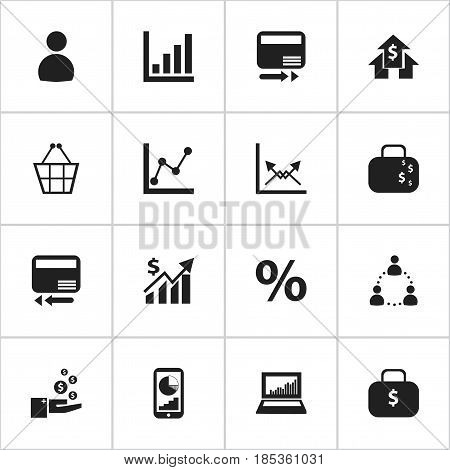 Set Of 16 Editable Statistic Icons. Includes Symbols Such As Transmission, Statistic, Pay Redeem And More. Can Be Used For Web, Mobile, UI And Infographic Design.