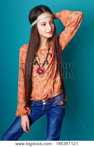 Portrait Of Beautiful Young Hippie Gir In Studio