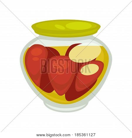 Canned mushrooms or red pepper in small jar isolated on white background. Vector illustration of temporary closing-down or preservation food, organic vegetables in glass can with metal green cover