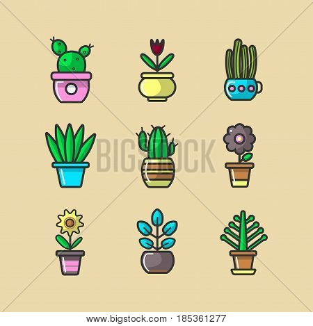 Ever green and blooming plants in glossy pots vector illustrations set. Prickly cacti, beautiful flowers and leafy plants in bright potties for window sills decoration isolated on beige background.