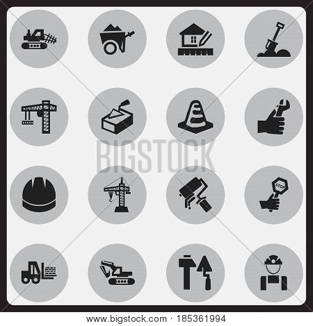 Set Of 16 Editable Building Icons. Includes Symbols Such As Construction Tools, Scrub, Endurance And More. Can Be Used For Web, Mobile, UI And Infographic Design.