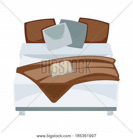 Dark double bed with pillows and open book in bedroom or guest room. White and brown bedclothes. Vector illustration of classic interior isolated furniture element for convenient sleep or rest